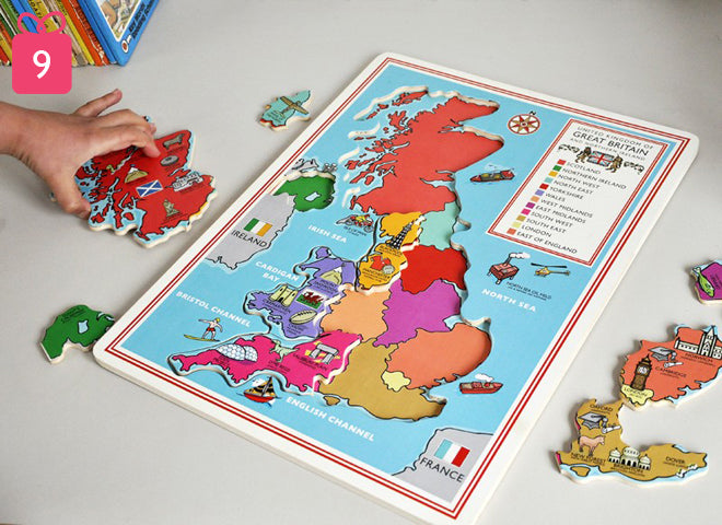 toys, activity toys, wooden toys, wooden jigsaw map of the united kingdom, gifts, christmas gifts, birthday presents, Dotcomgiftshop, published by Bobby Rabbit