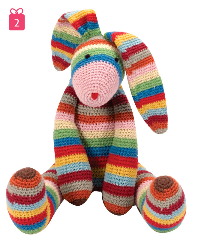 toys, soft toys, soft toy rabbit, crochet bunny, stripy bunny, gifts, christmas gifts, Notonthehighstreet, published by Bobby Rabbit