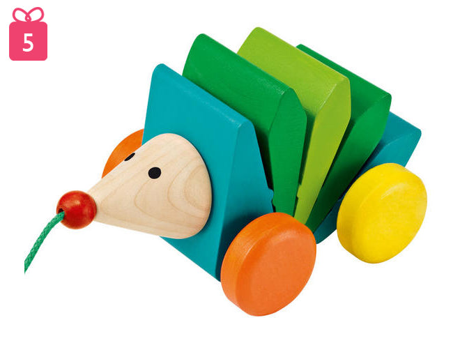 toys, wooden toys, pull-along toys, Kasper wooden pull-along hedgehog, Selecta wooden toys, Bebemoda, published by Bobby Rabbit