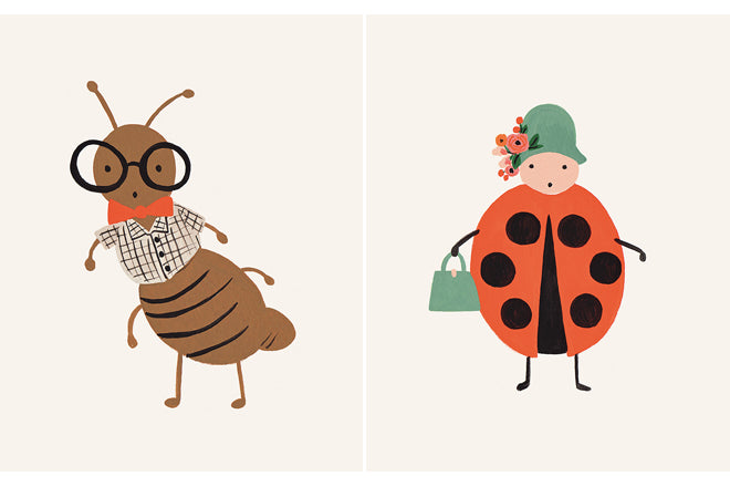 Rifle Paper Co. Ant and Ladybird Prints from Zigzag and Zebra, published by Bobby Rabbit