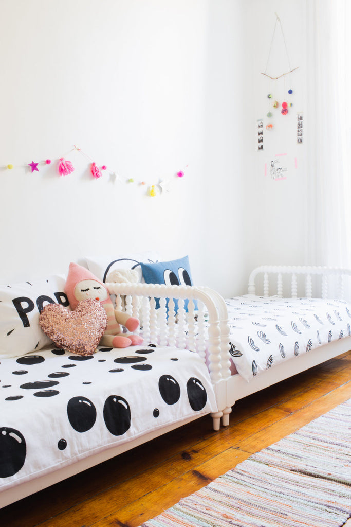 Girls' shared room by Ana Fritsch of Lucky Penny blog, as featured on Bobby Rabbit.