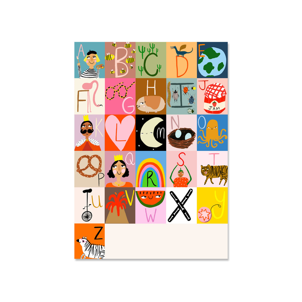 Alphabet A3 Print by Yayastudio, available at Bobby Rabbit. Free UK Delivery over £75