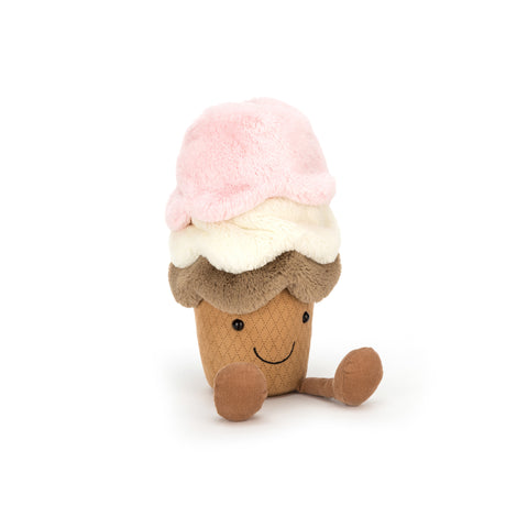 Amuseable Ice Cream Soft Toy Cushion, designed and made by Jellycat and available at Bobby Rabbit. Free UK Delivery over £75
