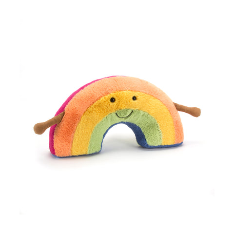 Amuseable Rainbow Soft Toy Cushion, designed and made by Jellycat and available at Bobby Rabbit. Free UK Delivery over £75