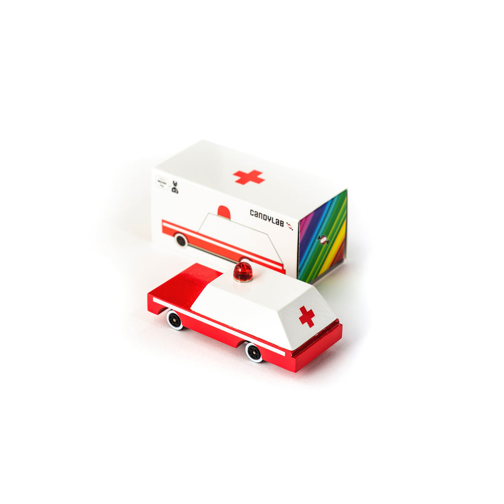 Candycar mini wooden ambulance by Candylab, available at Bobby Rabbit. Free UK Delivery over £75