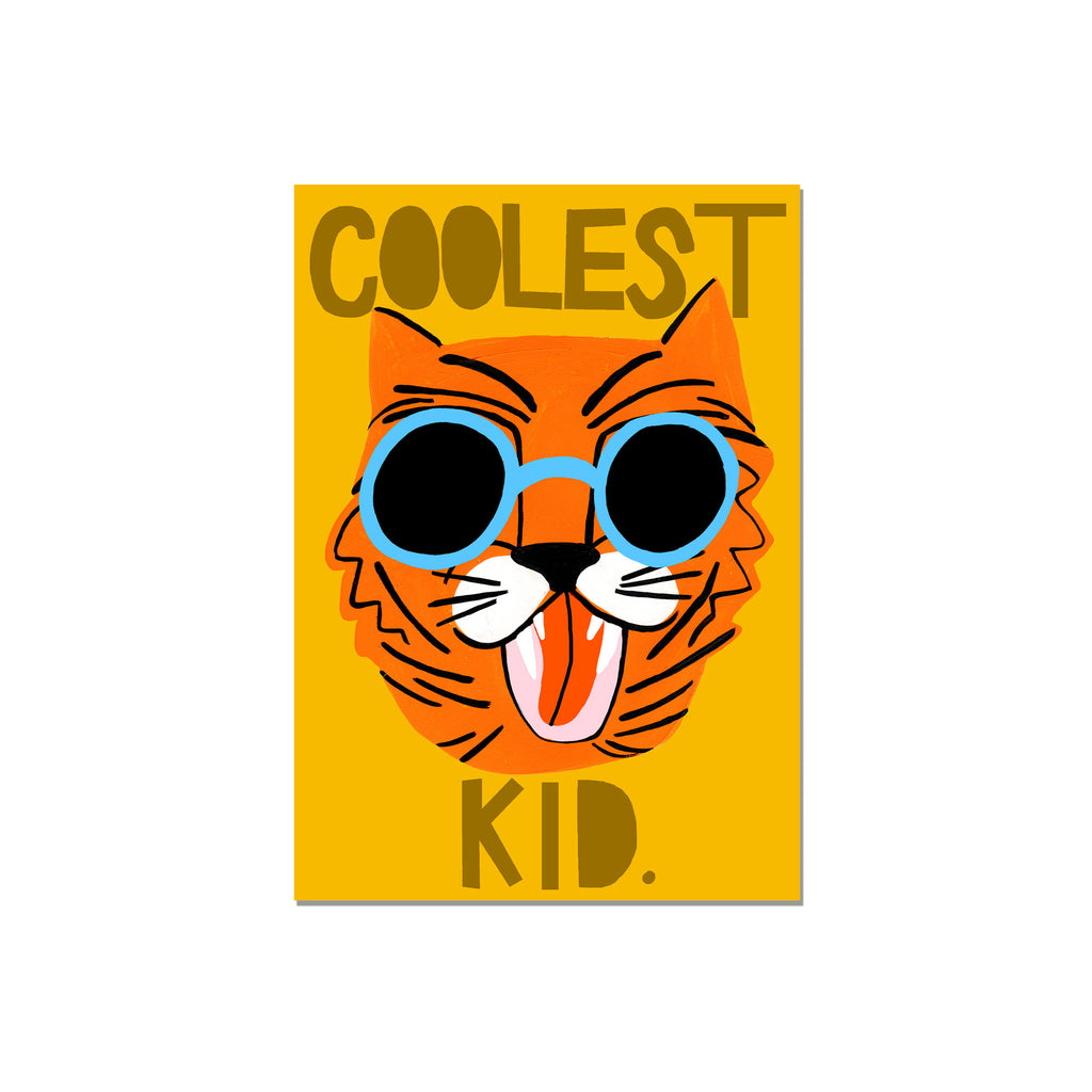Coolest Kid! A4 Print Orange by Yayastudio, available at Bobby Rabbit. Free UK Delivery over £75