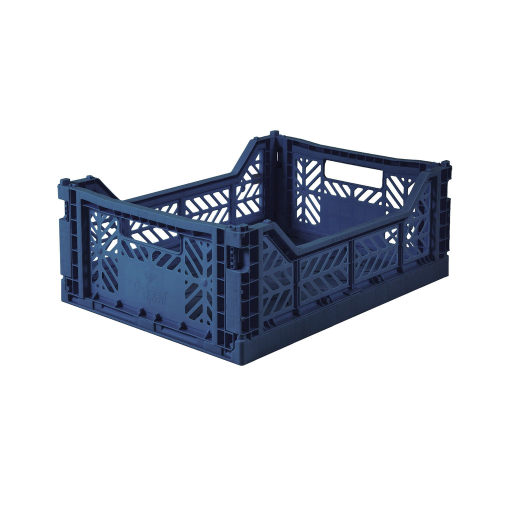 Folding Crate Midi Size - Navy Blue - by Lillemor Lifestyle, available at Bobby Rabbit.