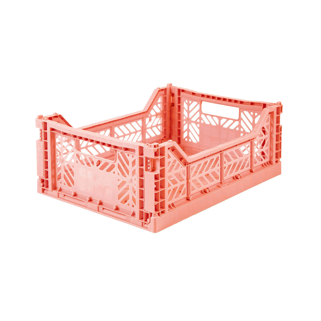 Folding Crate Midi Size - Salmon Pink - by Lillemor Lifestyle, available at Bobby Rabbit.