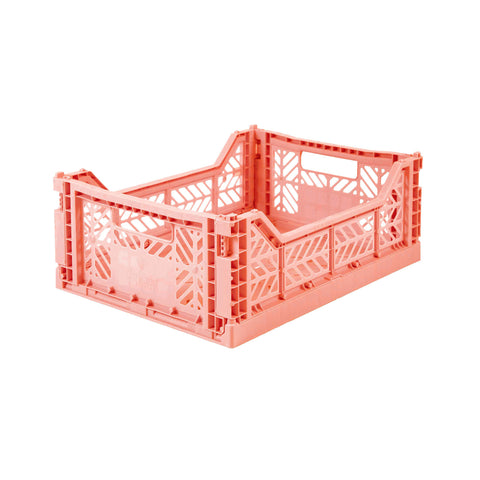 Folding Crate Midi Size - Salmon Pink - by Lillemor Lifestyle, available at Bobby Rabbit. Free UK Delivery over £75