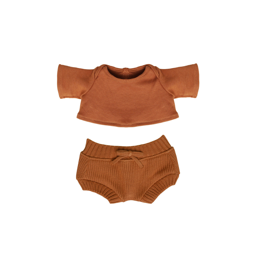 Dinkum Doll Snuggly Set - Toffee by Olli Ella, available at Bobby Rabbit. Free UK Delivery over £75