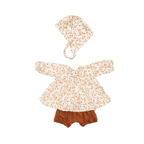 Dolls Clothes Set Caramel Leaves by Cam Cam Copenhagen, available at Bobby Rabbit. Free UK Delivery over £75