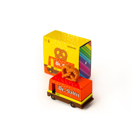 Candycar mini wooden Dr Salty's Pretzel van by Candylab, available at Bobby Rabbit. Free UK Delivery over £75