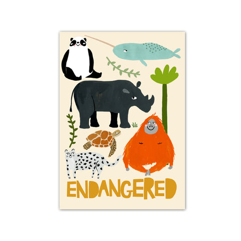 Endangered Animals A3 Print by Yayastudio, available at Bobby Rabbit. Free UK Delivery over £75
