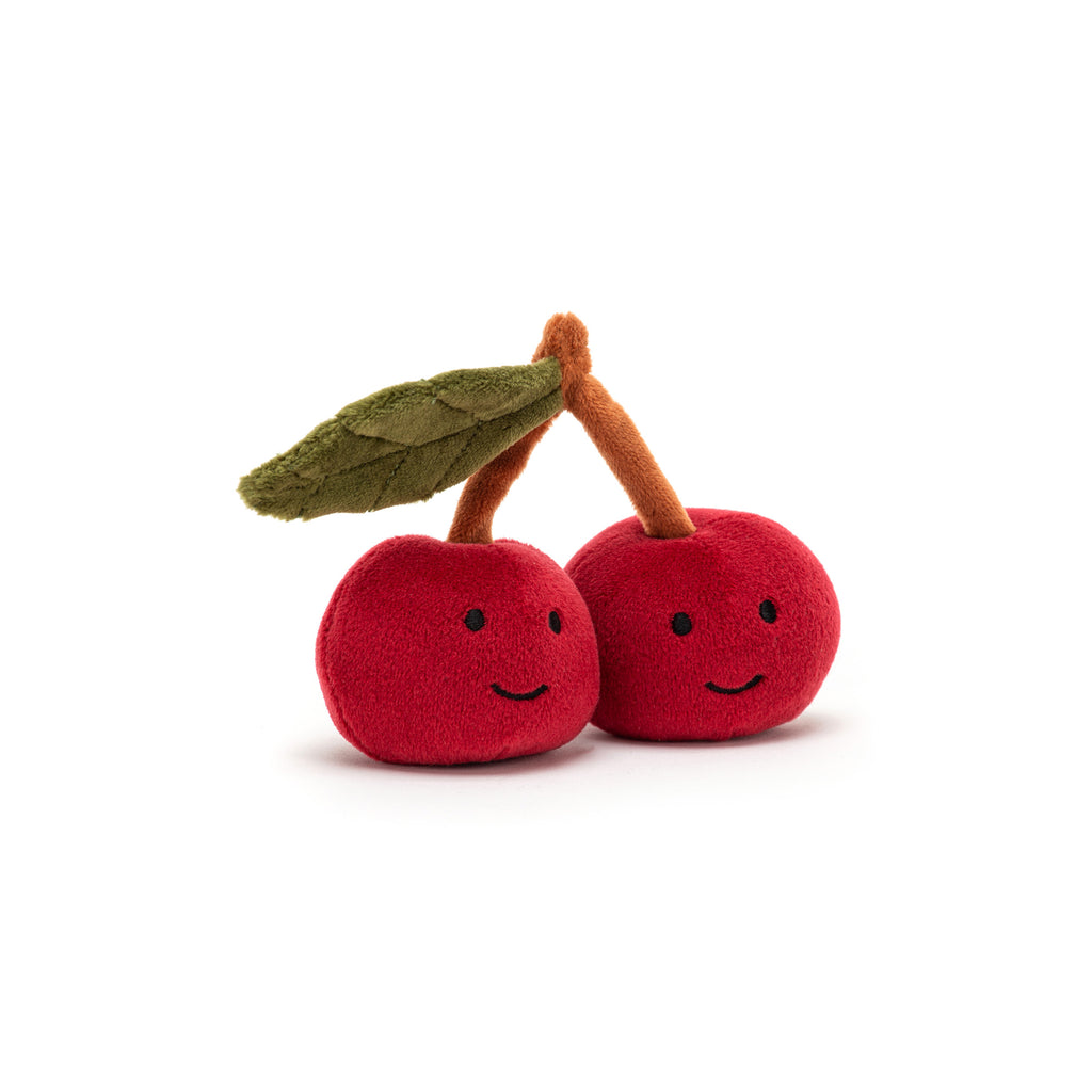 Fabulous Fruit - Cherries Soft Toy, designed and made by Jellycat and available at Bobby Rabbit. Free UK Delivery over £75