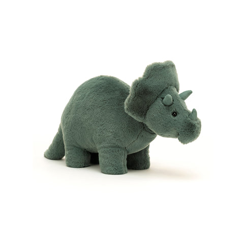 Fossilly Triceratops Soft Toy, designed and made by Jellycat and available at Bobby Rabbit. Free UK Delivery over £75