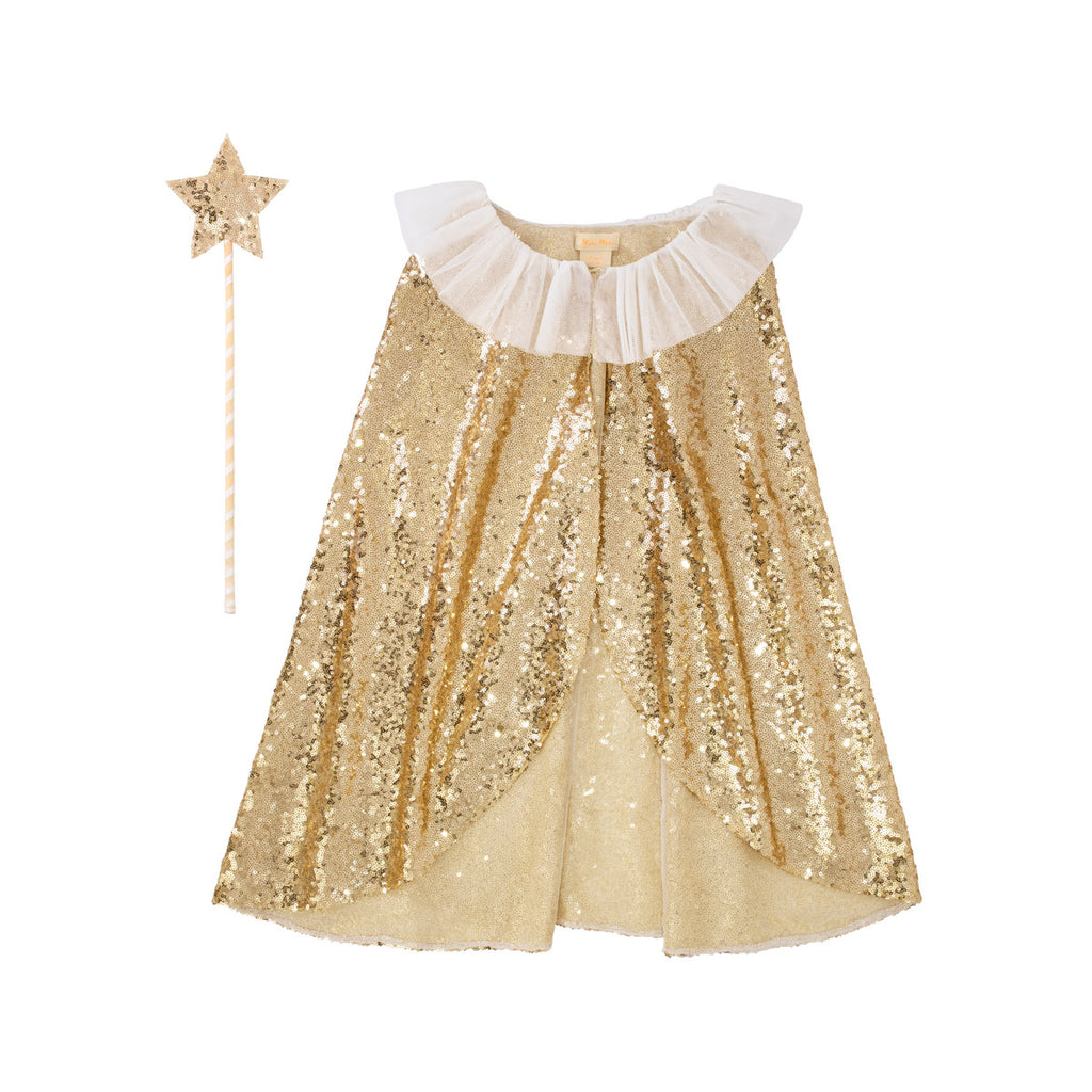 Gold Sparkle Cape and Wand Dress Up Set by Meri Meri, available at Bobby Rabbit.