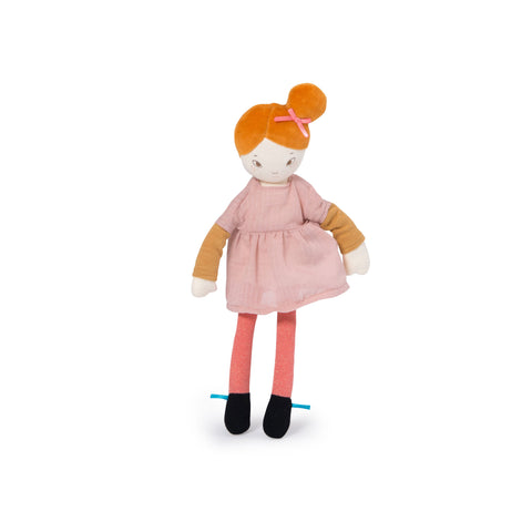 Mademoiselle Agathe soft toy rag doll from 'Les Parisiennes' collection by Moulin Roty, available at Bobby Rabbit. Free UK Delivery over £75
