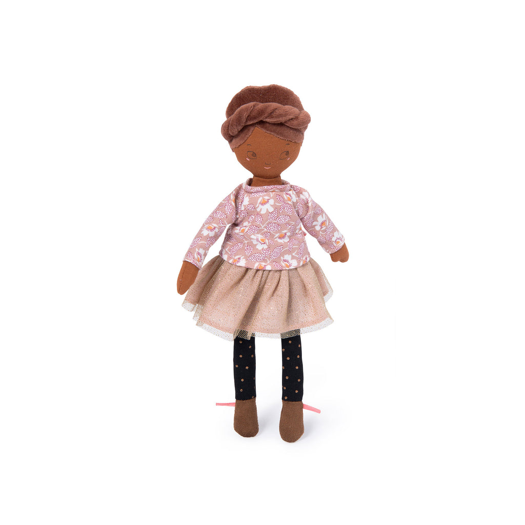 Mademoiselle Rose soft toy rag doll from 'Les Parisiennes' collection by Moulin Roty, available at Bobby Rabbit. Free UK Delivery over £75