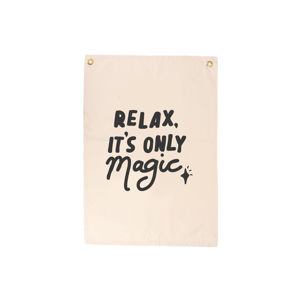 Relax It's Only Magic Wall Hanging by Seb and Charlie, available at Bobby Rabbit. Free UK delivery over £75