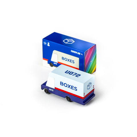 Candycar mini wooden mail van by Candylab, available at Bobby Rabbit. Free UK Delivery over £75