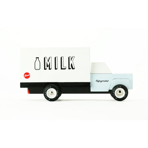 Milk Truck wooden vehicle by Candylab, available at Bobby Rabbit.