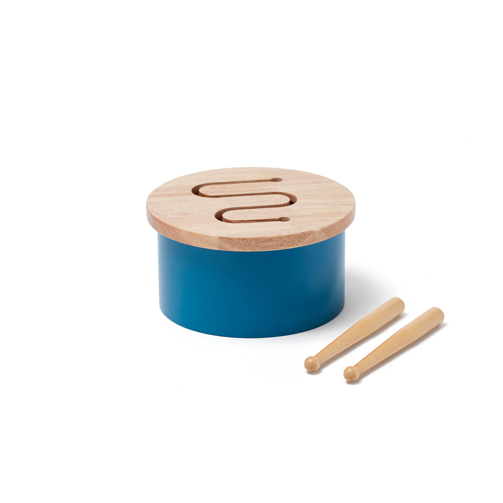 Wooden Drum - Blue by Kids Concept, available at Bobby Rabbit.
