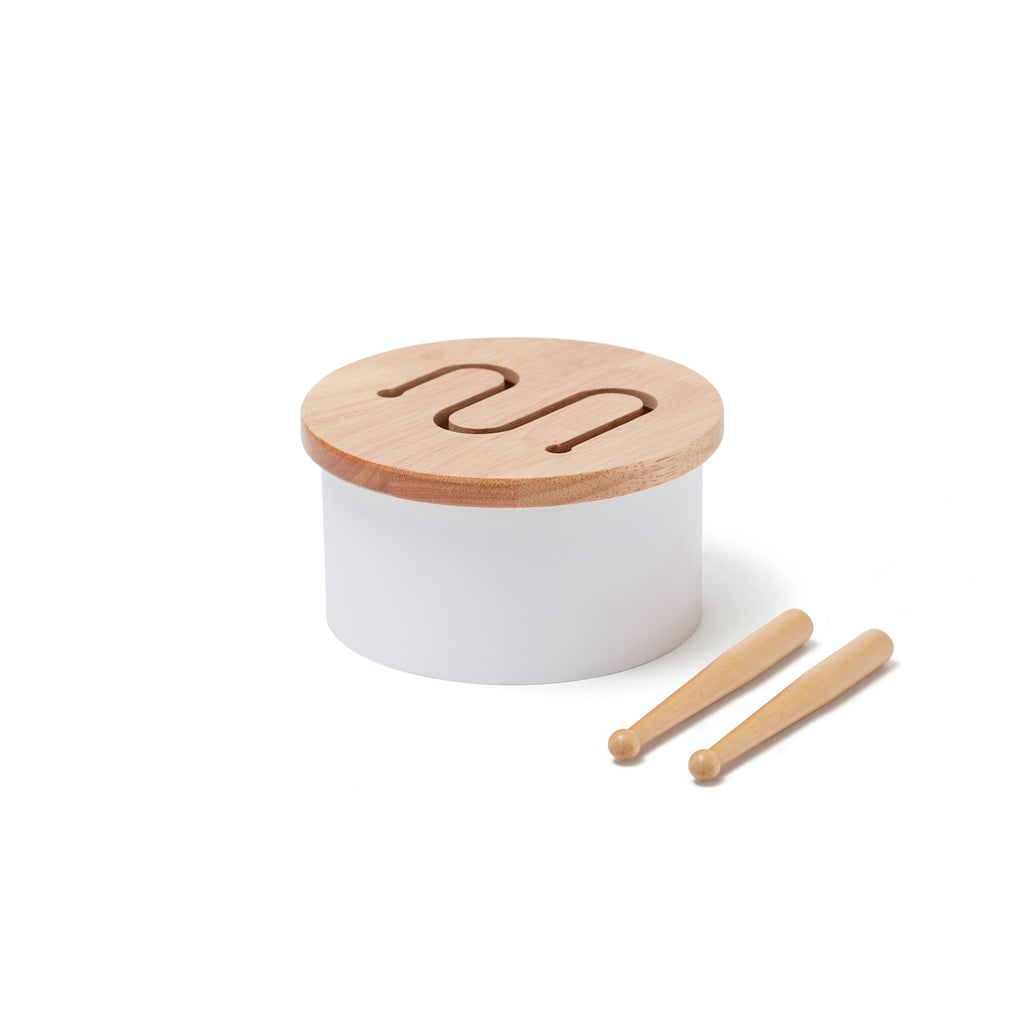 Wooden Drum - White by Kids Concept, available at Bobby Rabbit.