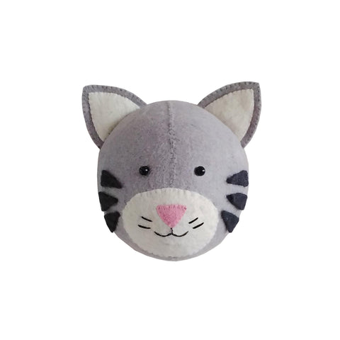 Mini Tabby Cat Head to hang on the wall, made by Fiona Walker England and available at Bobby Rabbit. Free UK Delivery over £75