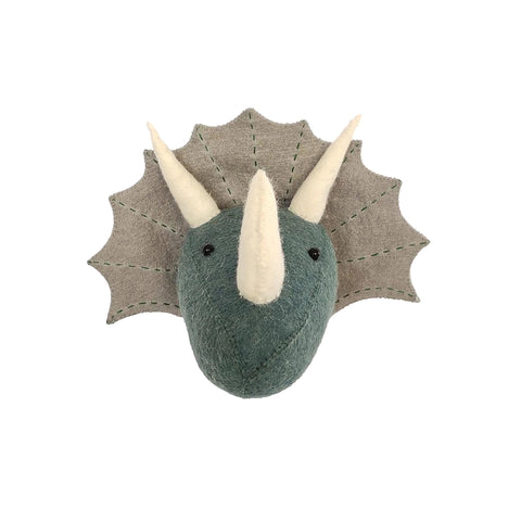 Mini Triceratops Head to hang on the wall, made by Fiona Walker England and available at Bobby Rabbit. Free UK Delivery over £75