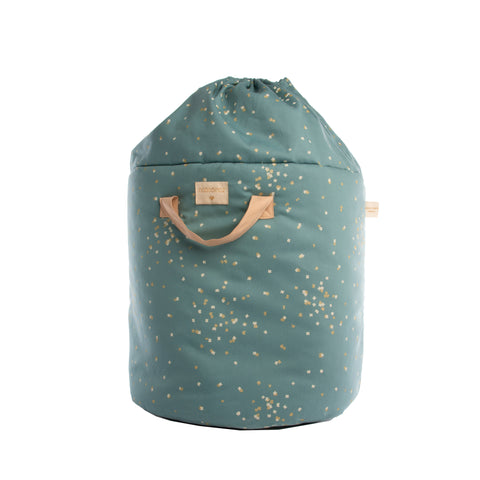 Bamboo Toy Bag - Gold Confetti / Magic Green by Nobodinoz, available at Bobby Rabbit. Free UK Delivery over £75
