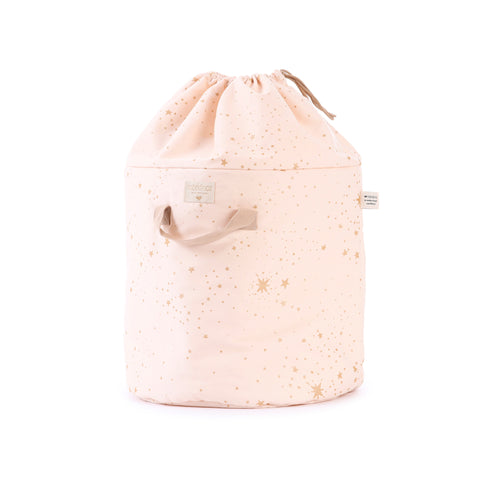Bamboo Toy Bag - Gold Stellar / Dream Pink by Nobodinoz, available at Bobby Rabbit. Free UK Delivery over £75