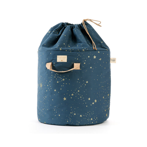 Bamboo Toy Bag - Gold Stellar / Night Blue by Nobodinoz, available at Bobby Rabbit. Free UK Delivery over £75