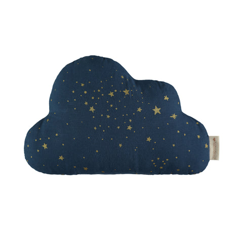 Cloud Cushion - Gold Stellar / Night Blue by Nobodinoz, available at Bobby Rabbit. Free UK Delivery over £75