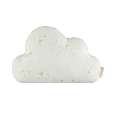 Cloud Cushion - Gold Stellar / White by Nobodinoz, available at Bobby Rabbit. Free UK Delivery over £75