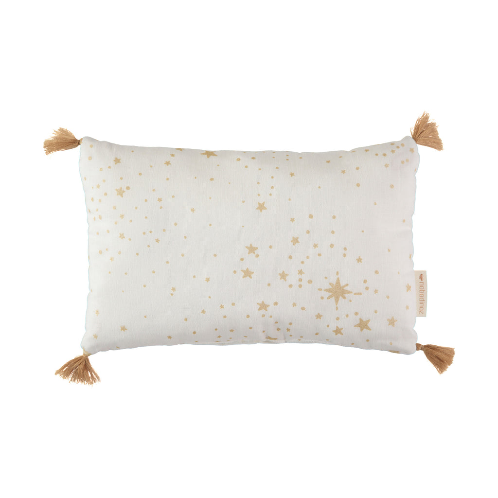 Sublim Cushion - Gold Stellar / White by Nobodinoz, available at Bobby Rabbit. Free UK Delivery over £75