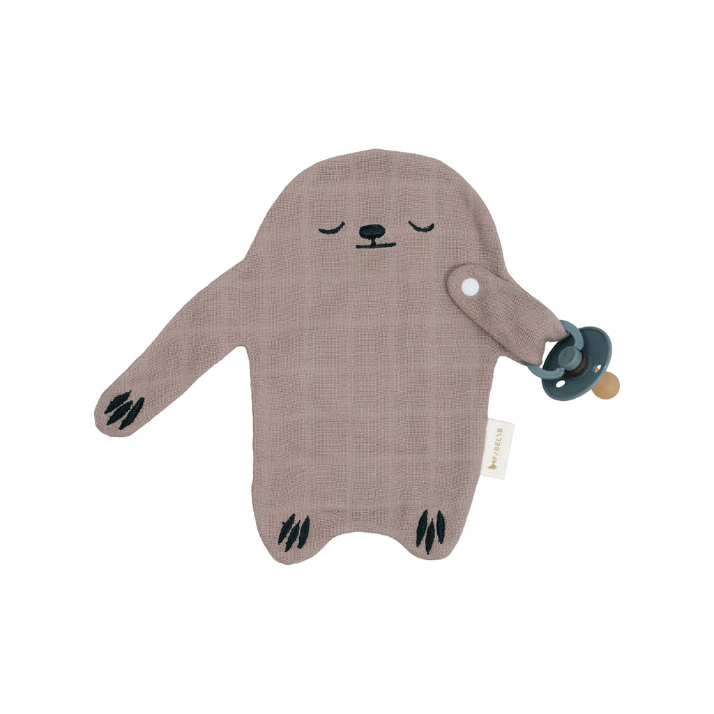 Pacifier Cuddle Toy - Sloth by Fabelab, available at Bobby Rabbit. Free UK Delivery over £75