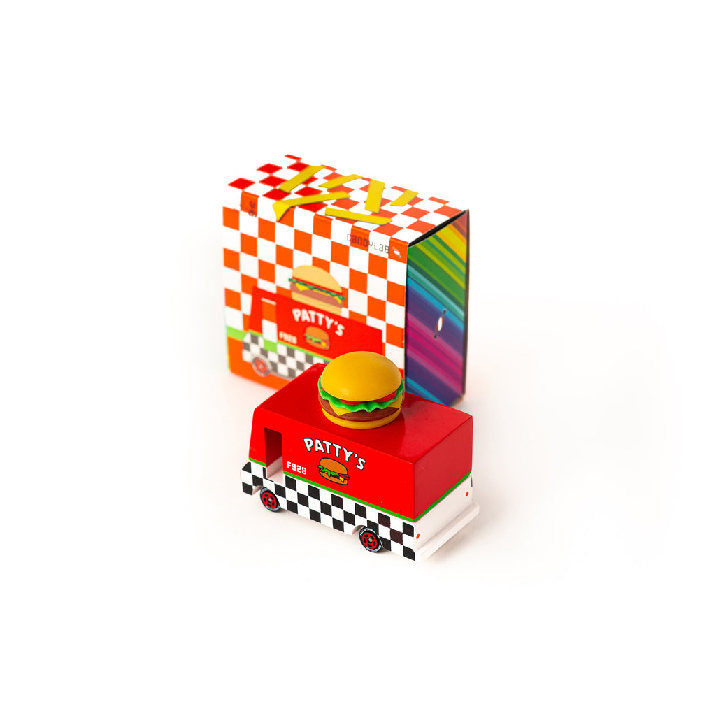 Candycar mini wooden Patty's Hamburger Van by Candylab, available at Bobby Rabbit. Free UK Delivery over £75