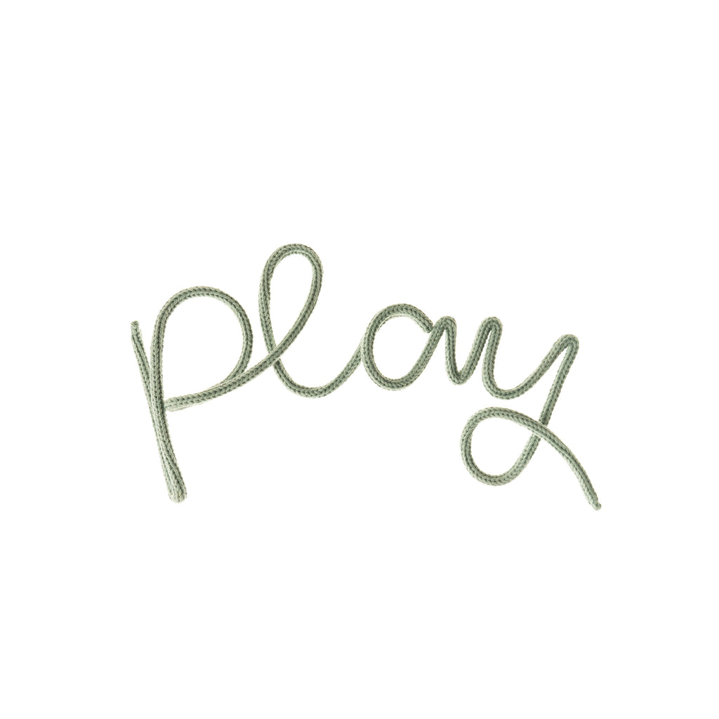 'Play' Wall Decoration - Sage Green by Hey Kiddo, available at Bobby Rabbit. Free UK Delivery over £75