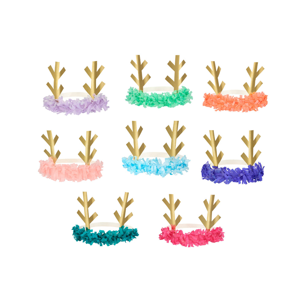 Reindeer Fringe Antler Headbands (set of 8) by Meri Meri, available at Bobby Rabbit.