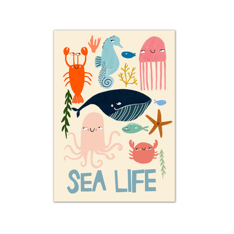 Sea Life A3 Print by Yayastudio, available at Bobby Rabbit. Free UK Delivery over £75