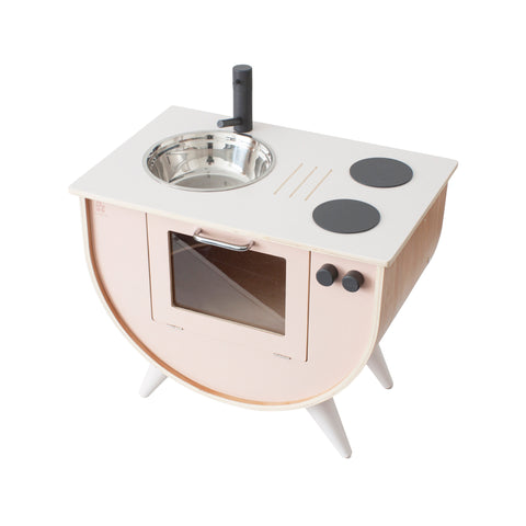 Sunset Pink Wooden Play Kitchen by Sebra, available at Bobby Rabbit.
