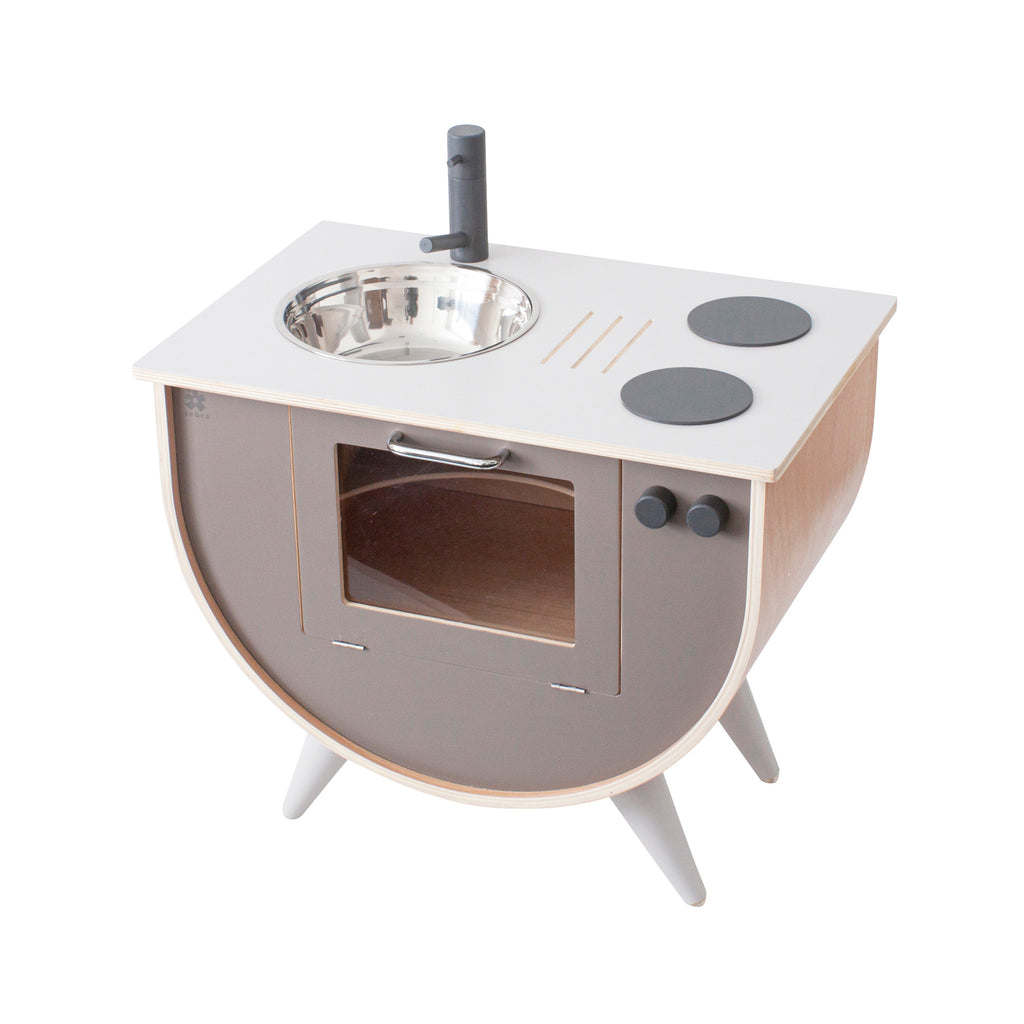 Warm Grey Wooden Play Kitchen by Sebra, available at Bobby Rabbit.