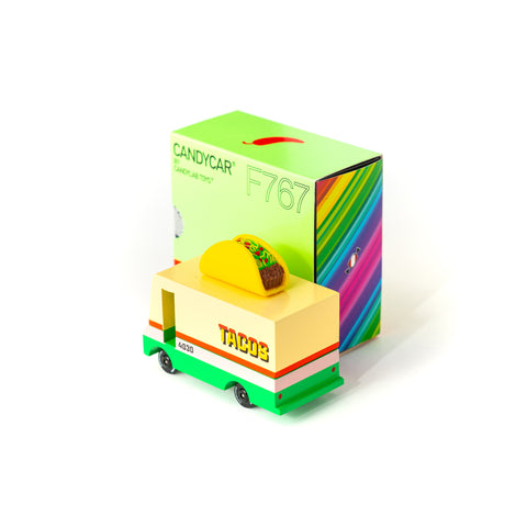 Candycar mini wooden taco van by Candylab, available at Bobby Rabbit. Free UK Delivery over £75