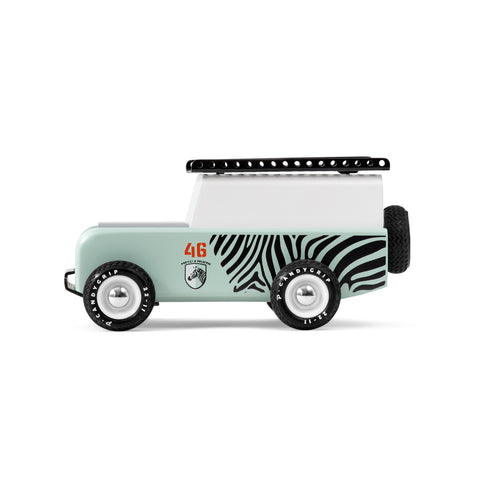 Zebra Drifter wooden vehicle by Candylab, available at Bobby Rabbit.