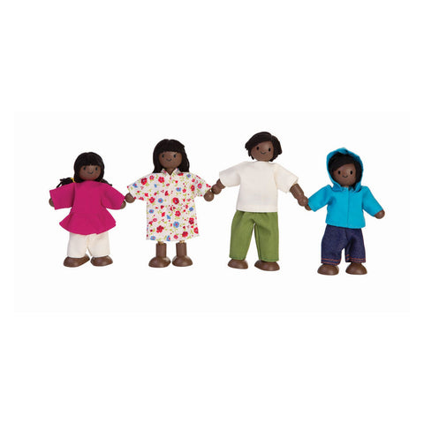 Afro-Amercian Dolls House Family by Plantoys, available at Bobby Rabbit.  Free UK Delivery over £75