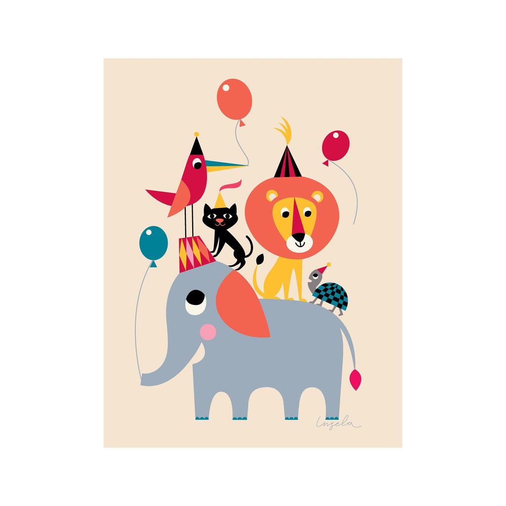 Animal Party poster for children's rooms, designed by Ingela P. Arrhenius for OMM Design and available at Bobby Rabbit.
