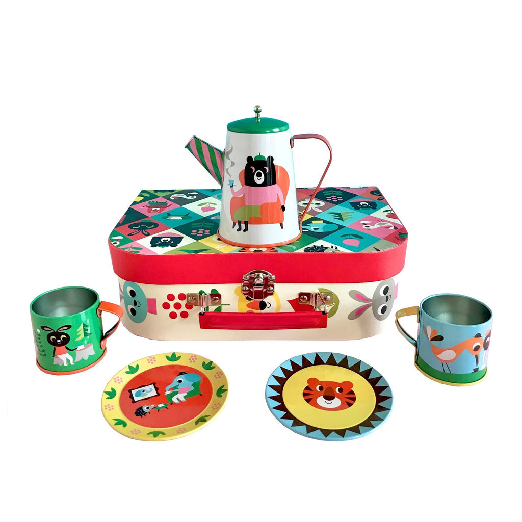 Animal Party Tin Tea Set, designed by Ingela P. Arrhenius for OMM Design and available at Bobby Rabbit.