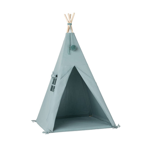 Aqua Pom Pom Teepee Tent by Nununu, available at Bobby Rabbit.
