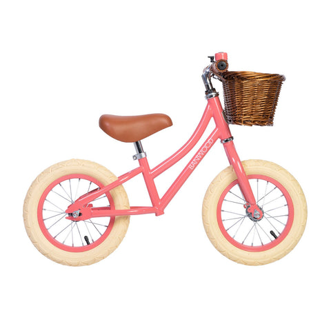 Banwood 'First Go!' Balance Bike in coral, available at Bobby Rabbit.