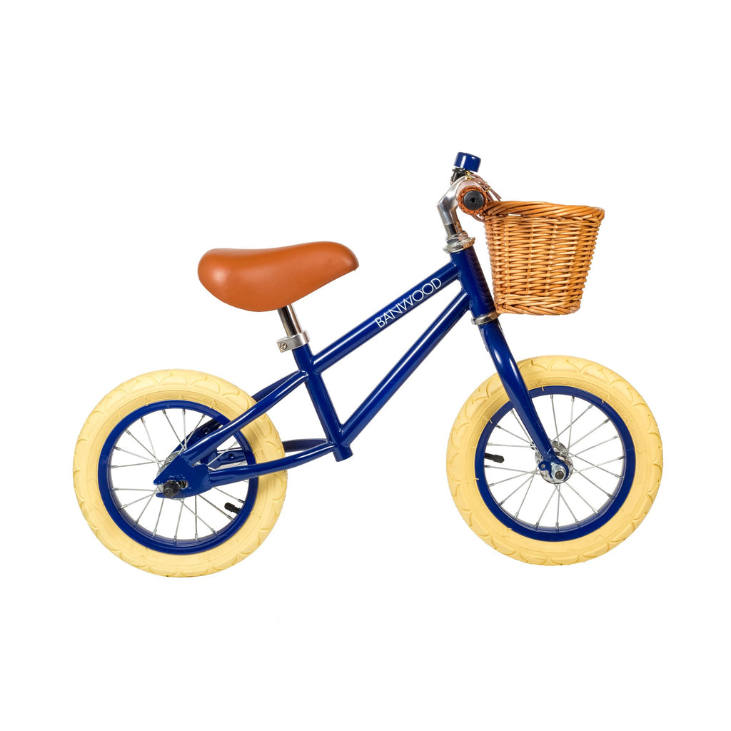 Banwood 'First Go!' Balance Bike in navy blue, available at Bobby Rabbit.